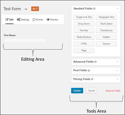 Edit Form Screen Editing Area vs Tools Area