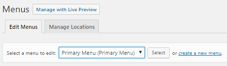 Select a Menu to Edit